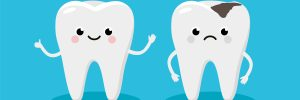 Happy Healthy Tooth and Moody Tooth with cavity Cartoon characters in flat design. Dental Infographic elements concept vector illustration in flat design